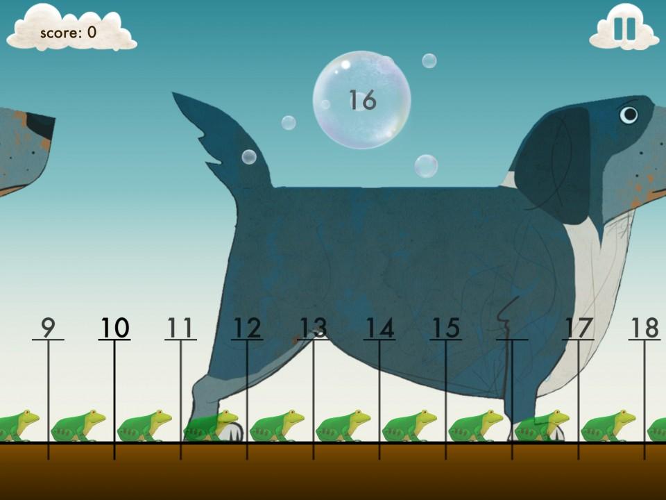 在他们的一款加法的游戏里,把几个数字结合到一起,对应的动物也会随着